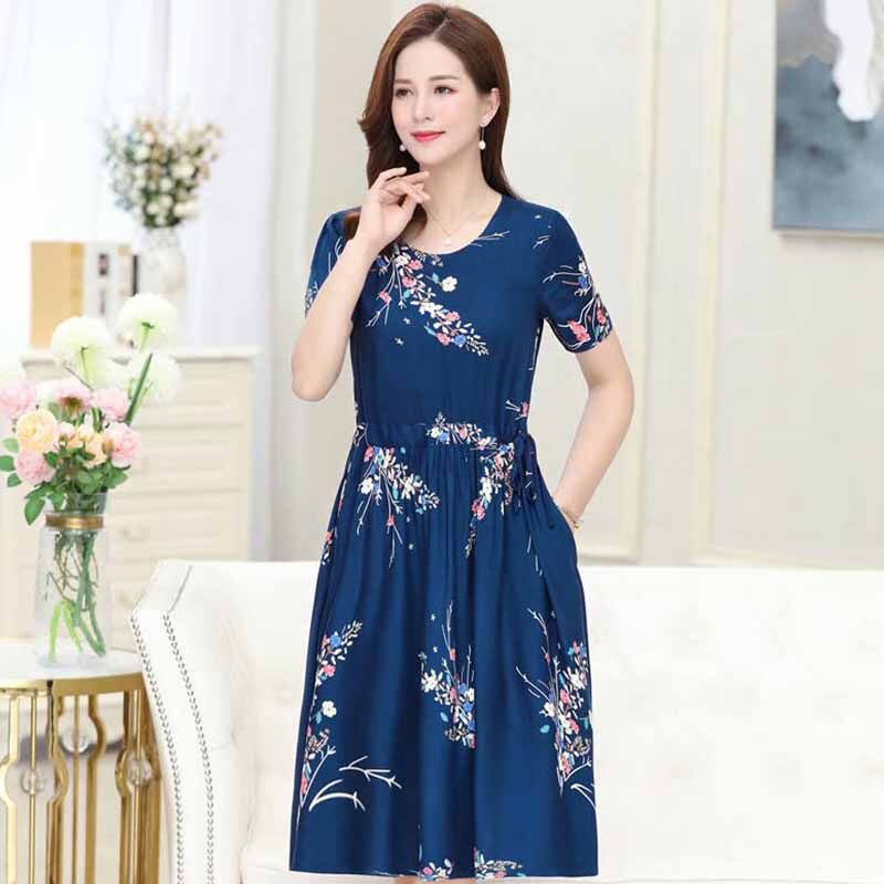 Women Floral Printed Short-Sleeved Middle-Waisted Casual Dress with Crew-Neck for Summer
