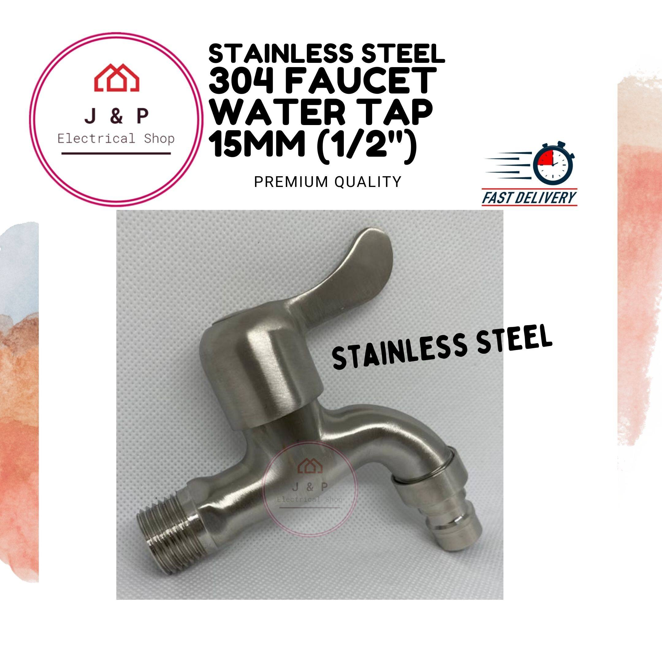 "304 Faucet Water Tap 15mm (1/2"") Stainless Steel - Premium Quality ( HS-467AL)[READY STOCK]1542372550-1603022007460-0"