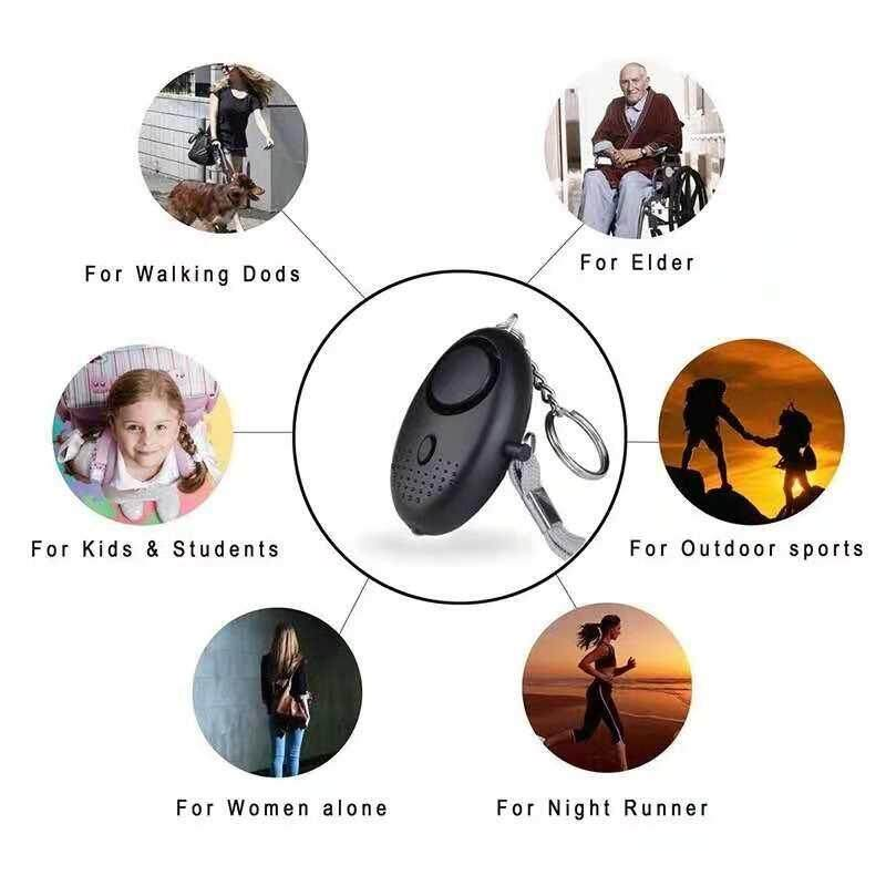 Self Defense Sound Alarm Women Protect Tools Elder Safety Keychain Torch light