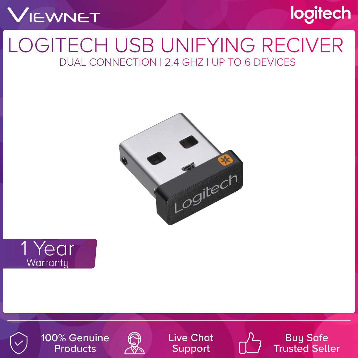 Logitech USB Unifying Receiver (910-005239), Black, Up to 6 Devices, 2.4GHz Wireless Technology, Dual Connectivity