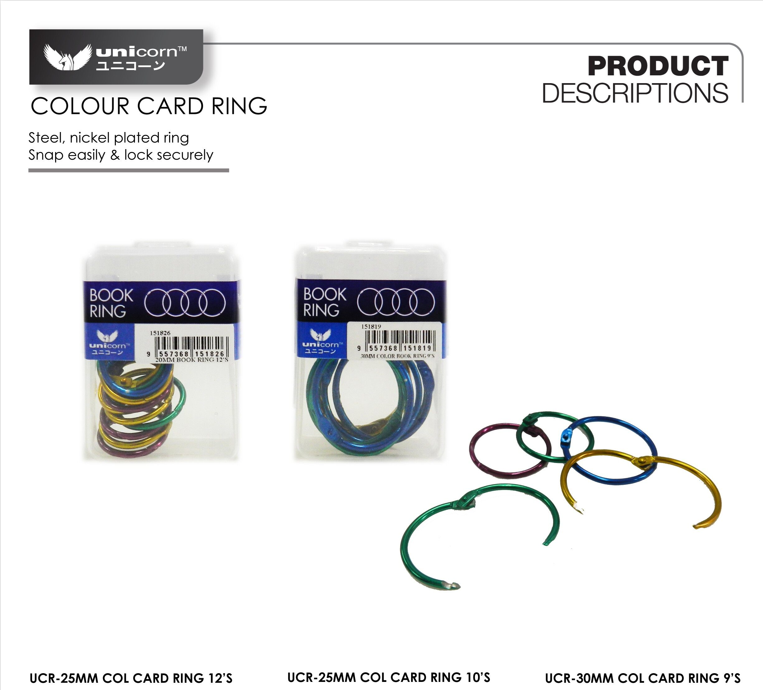 UNICORN UCR-25 25mm COLOUR CARD RING / BOOK RING 10s x 6bxs