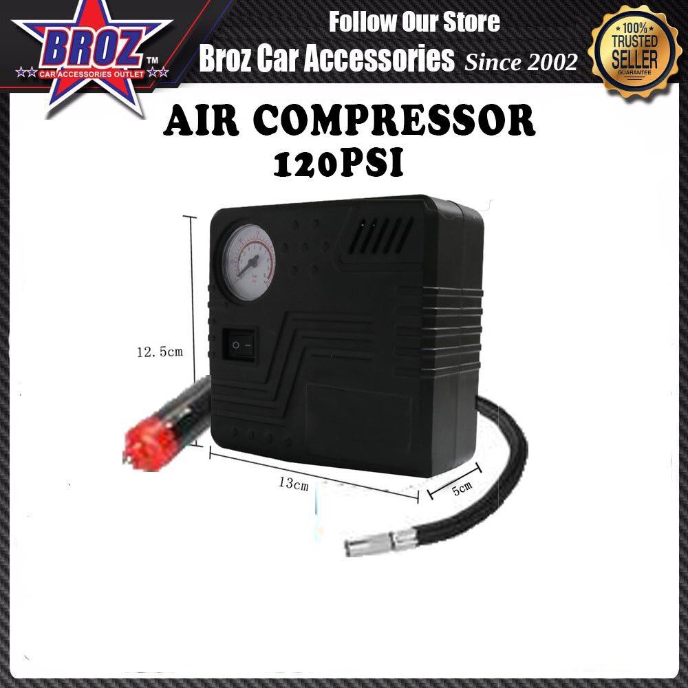 Portable Air Compressor Pump 120 Psi-Dc 12V Auto Tire Inflator Gauge Car Pump