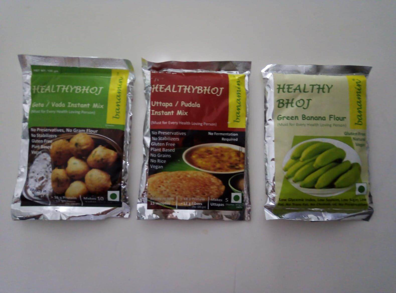 VEGAN GLUTEN FREE Vadai Instant Mix (100gms), Green Banana Flour (100gms) AND Uttapa Instant Mix (NO RICE) (100gms) - HALAL CERTIFIED
