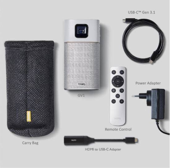 BenQ GV1 Portable LED Projector with 200 Lumens, Built-in Speaker, Bluetooth and WiFi Connection Support