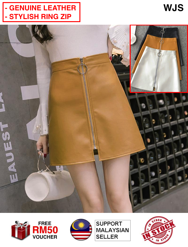 (SUPER SEXY) WJS Women Fashion Leather Skirt Lady Business Black Hip Skirt High Waist A Line Skirts Short Skirt Mini Skirt Sexy Skirt Pants Lingerie BLACK BROWN YELLOW WHITE [FREE RM 50 VOUCHER]