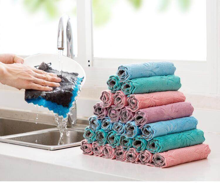 10 Pieces Household Kitchen Towels Absorbent Thicker Double-layer Microfiber Wipe Table Kitchen Towel Cleaning Dish Washing Cloth Random Color