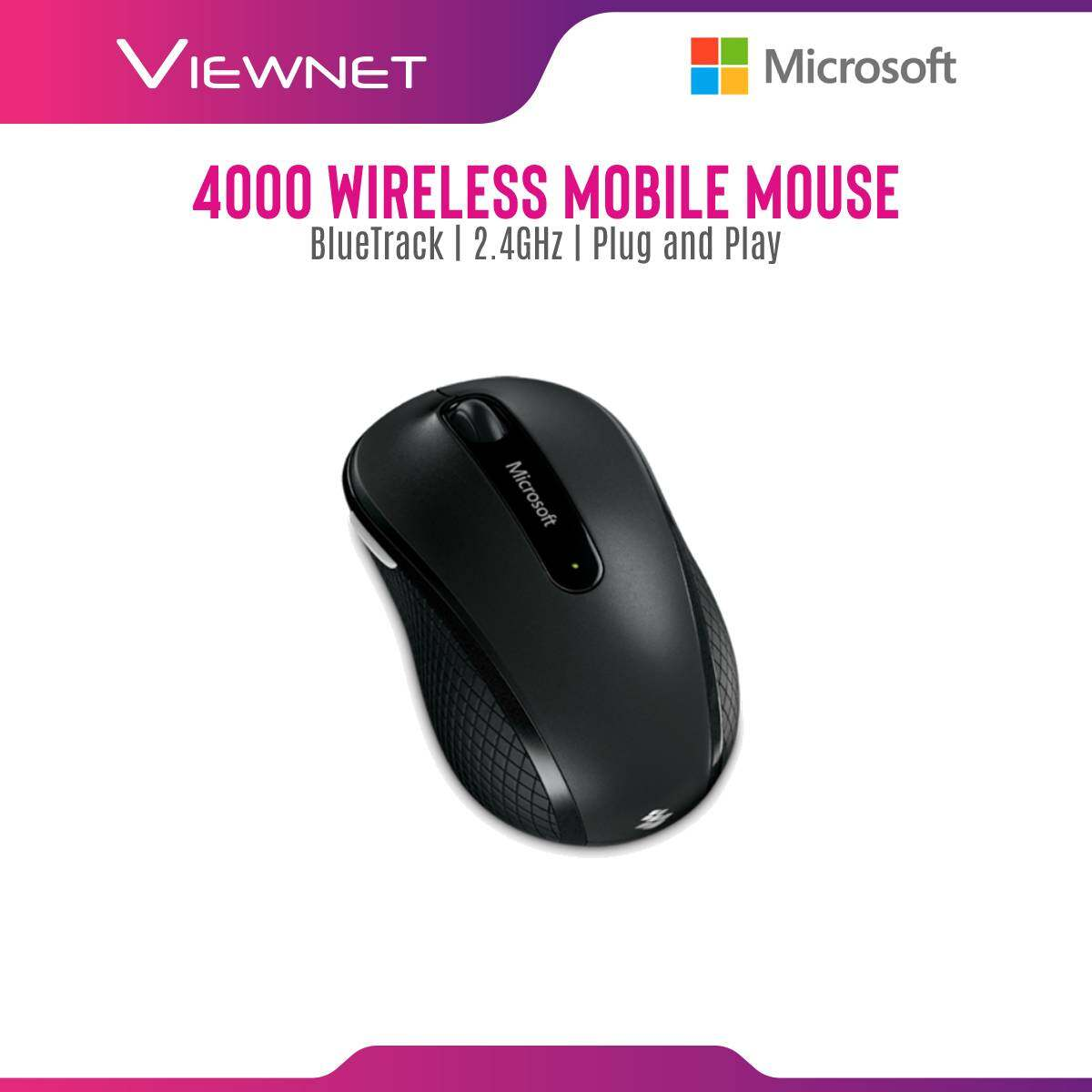 Microsoft Wireless Mouse Mobile Mouse 4000 with Bluetrack Technology, Plug and Play, Nano Receiver, Reliable 2.4Ghz Wireless, Up To 10 Month Battery Life