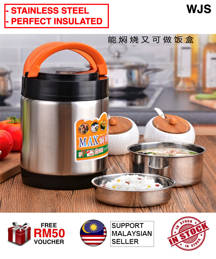 (PERFECT INSULATION) WJS Premium 2L Multifunctional Stainless Steel Heat Preservation Portable Pot Long-Lasting Insulation Bento Soup Keep Warm Lunch Box Case Food Container 304 STAINLESS STEEL [FREE RM 50 VOUCHER]