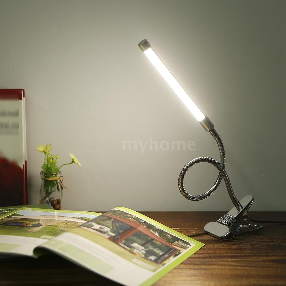 Table Lamps - DC5V 10W 36 LED Clamp Clip Desk Lamp USB Powered Operated/ 3 Colors Temperature Changing/ 10 Levels - SILVER