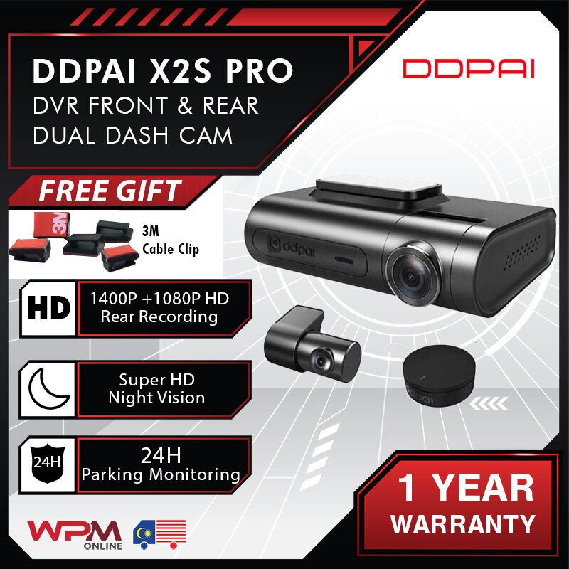 Original DDPai Dash Cam X2S Pro Night Vision 1400p HD DVR Front & Rear Car Cam Recorder Parking Monitor Wi-Fi Android MP4 160° WDR 24H Parking Monitoring