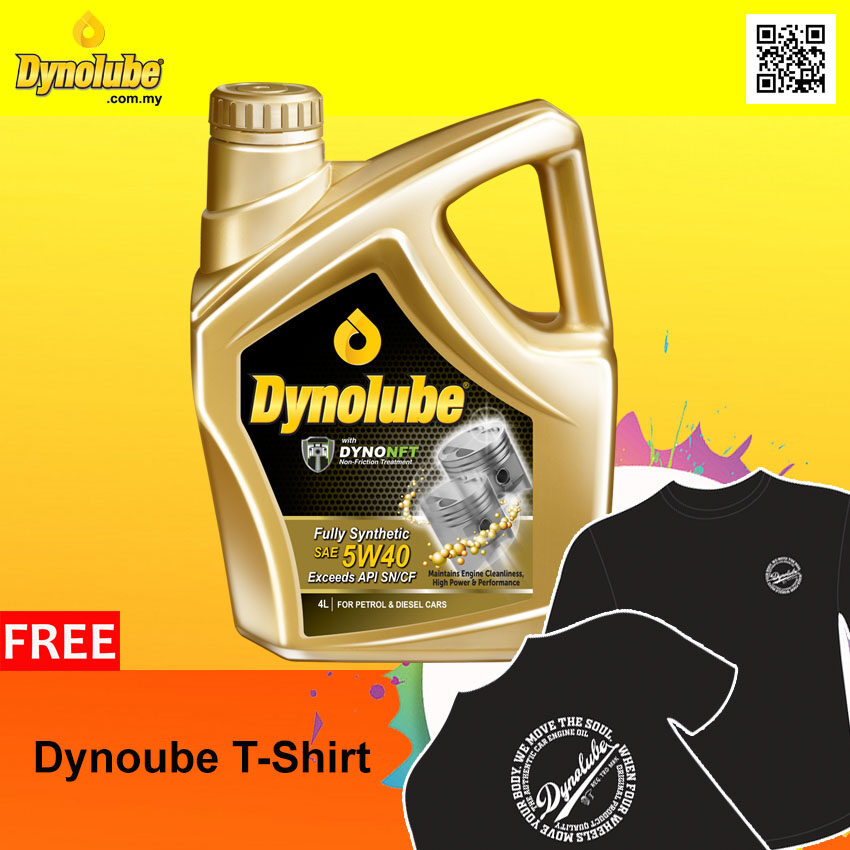 Dynolube 5W40 with DYNONFT Fully Synthetic Engine Oil SN/CF 4Liter (2 Bottles) FREE T-Shirt X 1pcs