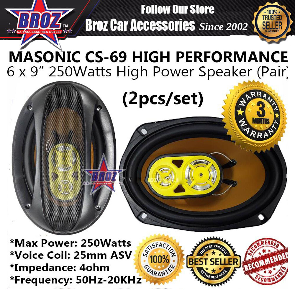 Broz MASONIC CS-69 HIGH PERFORMANCE 6 x 9  250Watts Rear Speaker