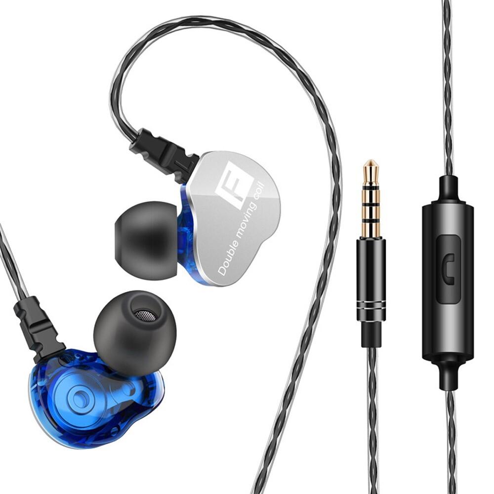 Mobile Audio Earbuds - QKZ CK9 3.5mm In-Ear Dual Moving Coil Earbuds HiFi Earphone - CLEAR / BLUE / PURPLE / BLACK