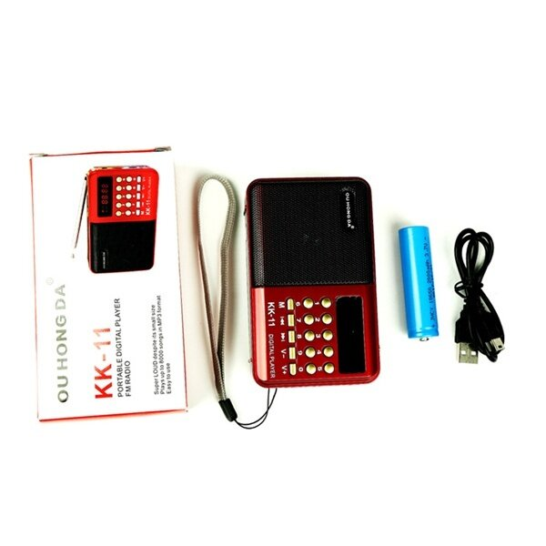 K11 FM Rechargeable Mini Portable Radio Handheld Digital FM USB TF MP3 Player Speaker