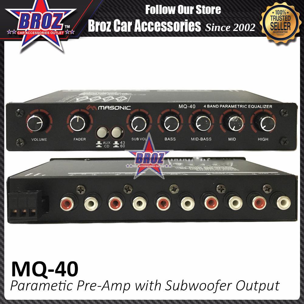 Broz Masonics MQ-40 Parametric Pre-Amp with Subwoofer Output Karaoke 4 Band Car Audio