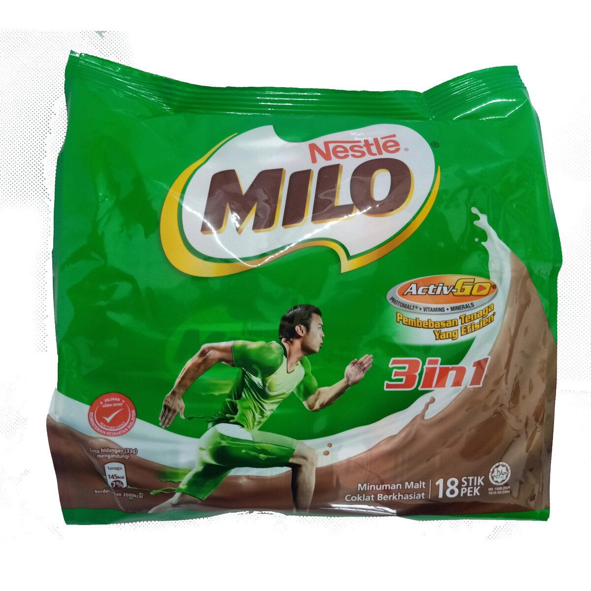 Nestl Milo Chocolate Malt Drink Activ-Go 3 In 1 (33g x 18 Sticks) x 3 Bags