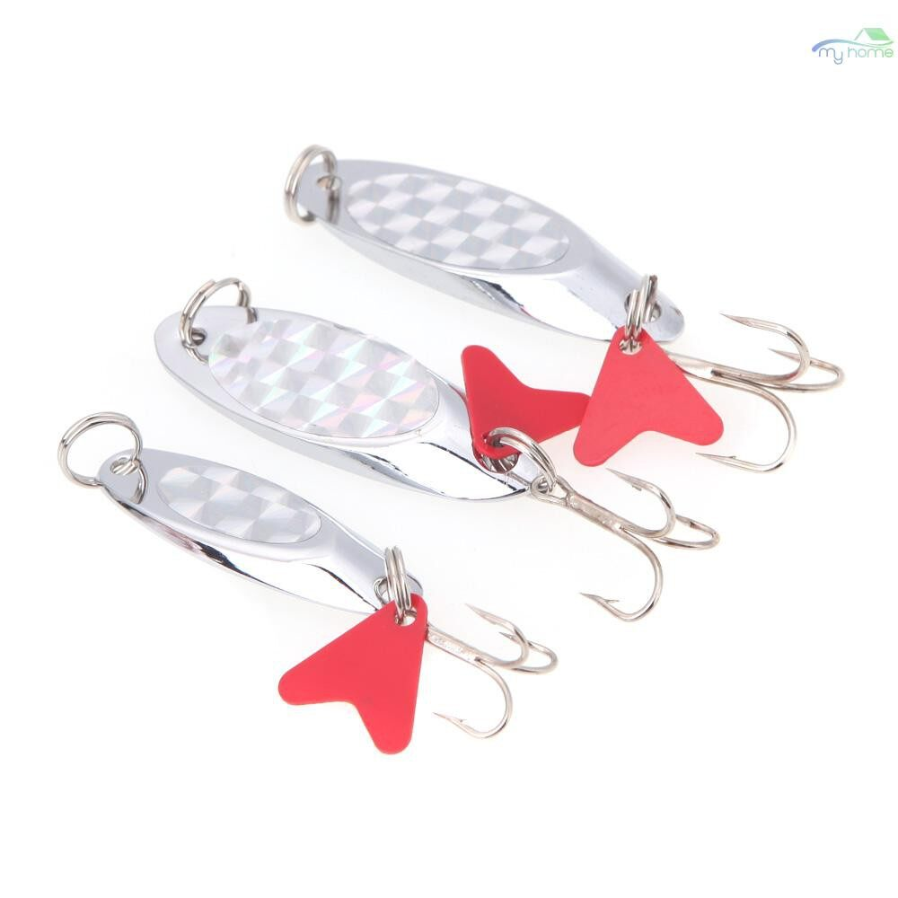 Lures & Flies - 5cm/15g Fishing Spoon Lure Sequin Paillette Metal Hard Bait Hook Tackle Silver - SILVER-15 G / SILVER-11 G / SILVER-7 G