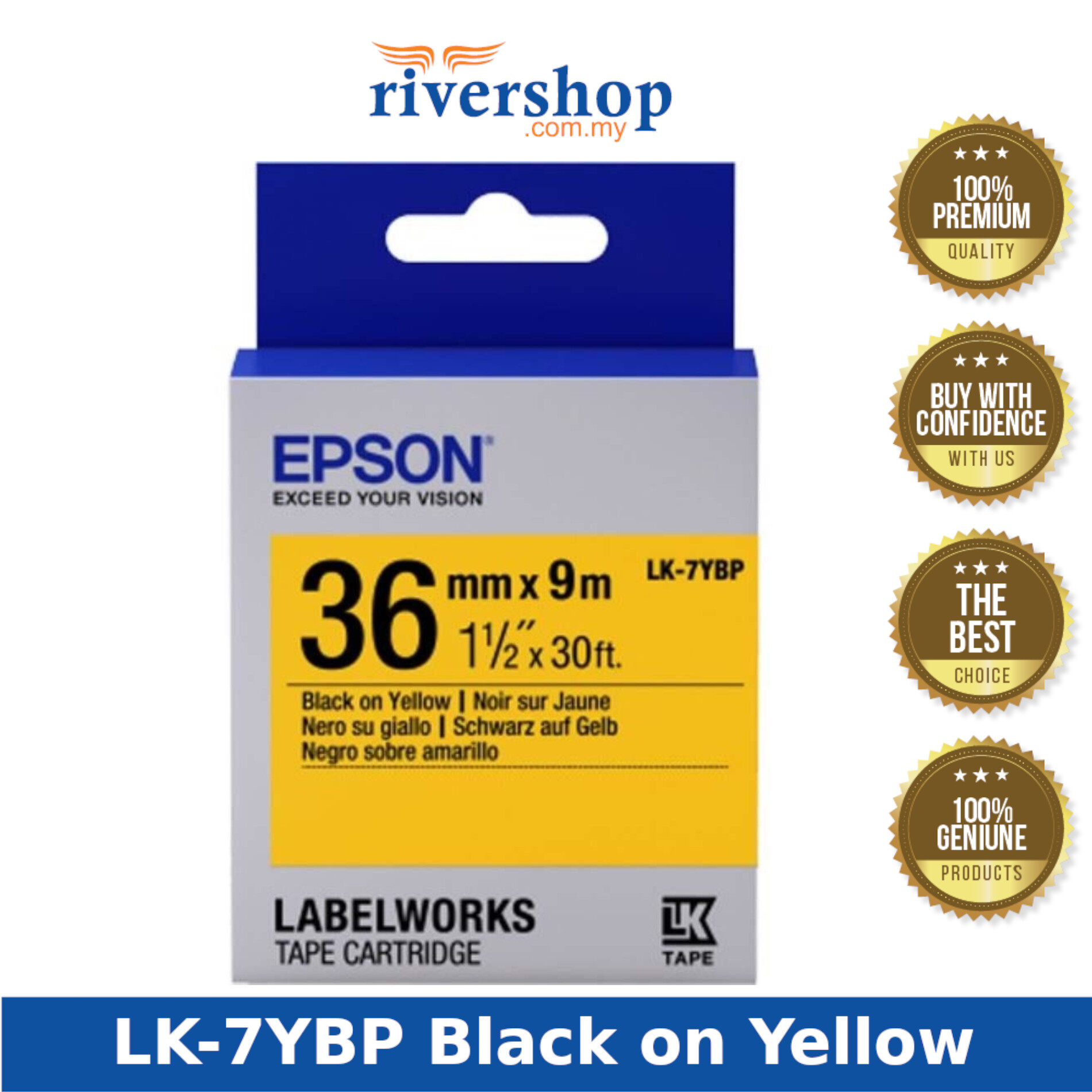 Epson Label Cartridge Tape 36mm Printer Ink and Toner Cartridges, School Stationery & Office Supplies