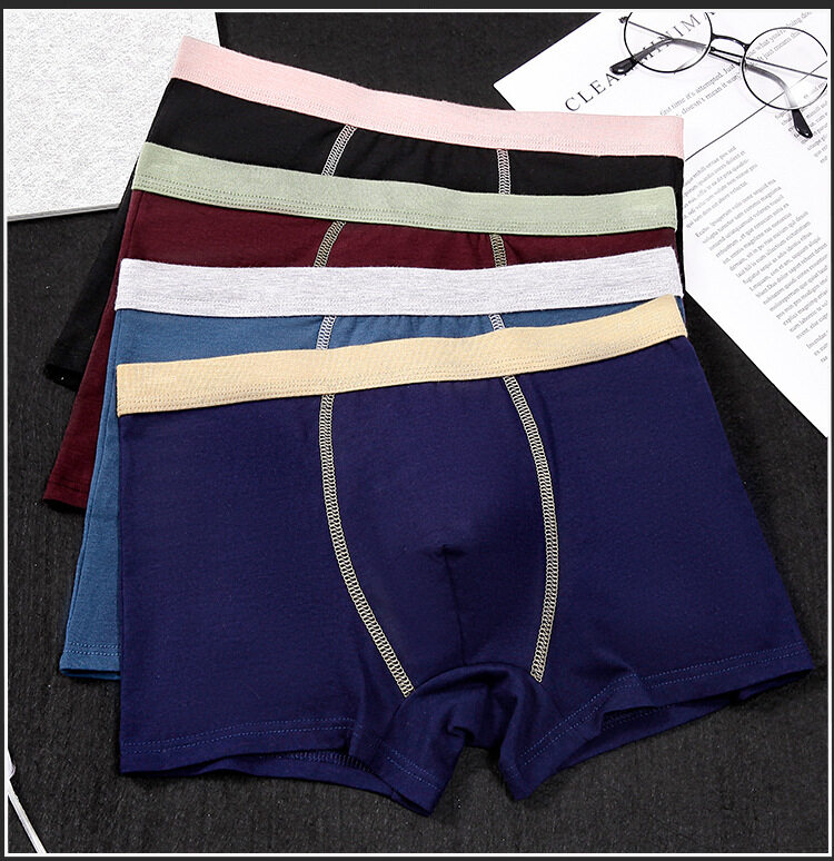 5 Pieces Set Square Pants Mid Waist Men Boxer Pant Underwear Men Stitching Color Cotton Boxer