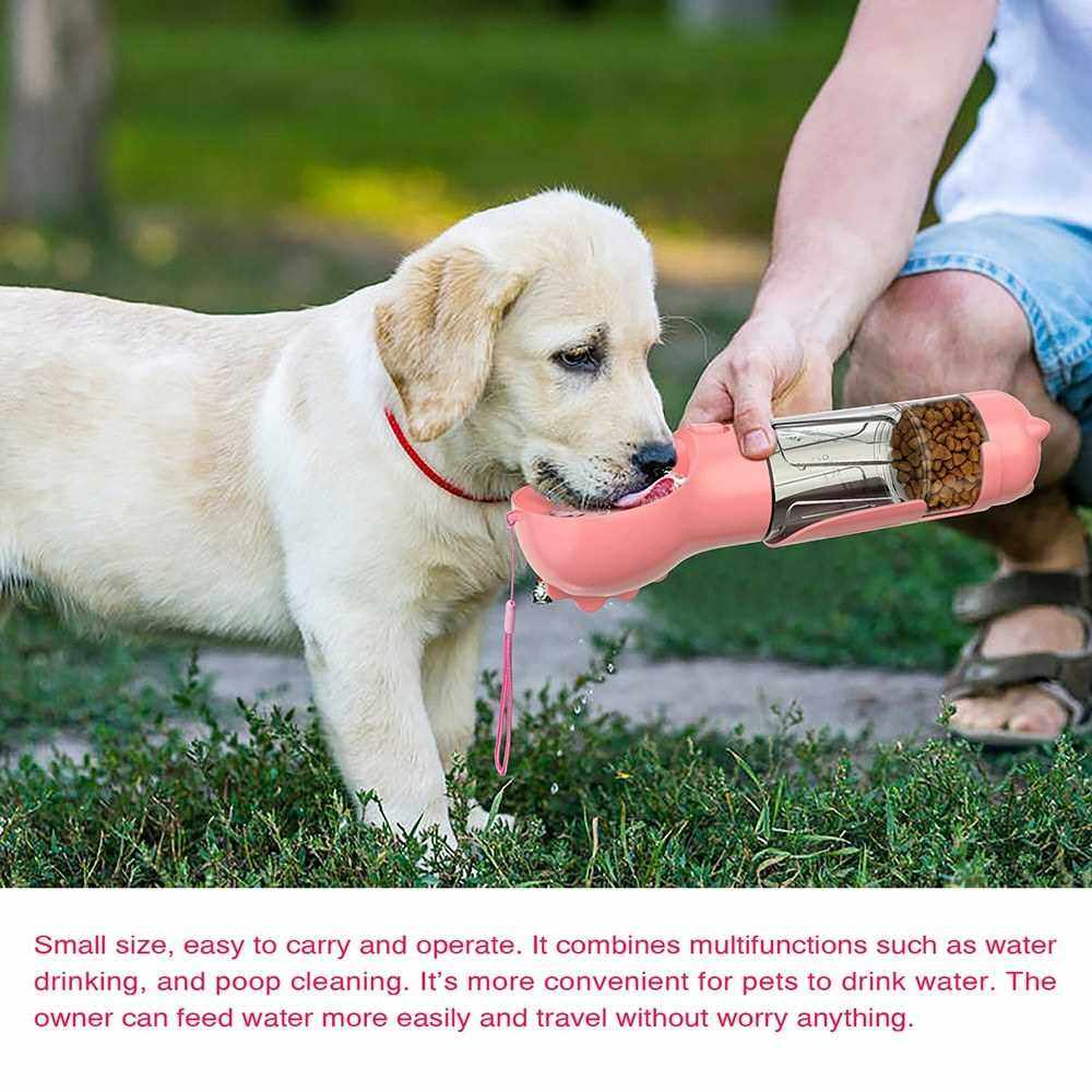Dog Water Bottle for Walking Portable Pet Travel Water Dispenser Multi-Functional Water Cup Food Box with Poop Shovel (Pink)