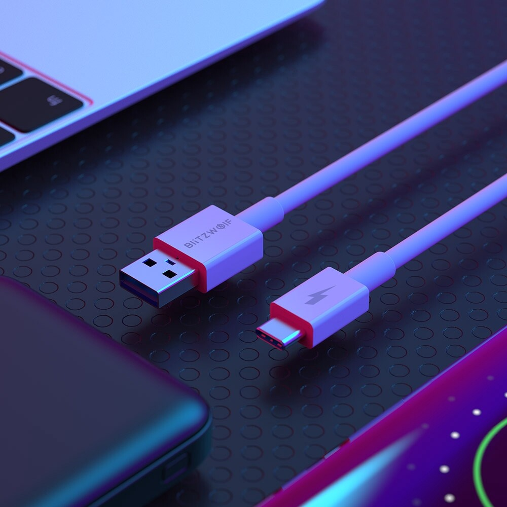 Mobile Cable & Chargers - Blitzwolf BW-TC18 TPE 5A SuperCharge QC3.0 USB Type-C Charging Data Cable - WHITE
