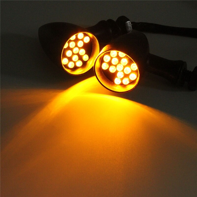 Moto Spare Parts - 2 PIECE(s) Motorcycle Lamps Bullet LED Indicators Amber Light Marker Lights - Motorcycles, & Accessories