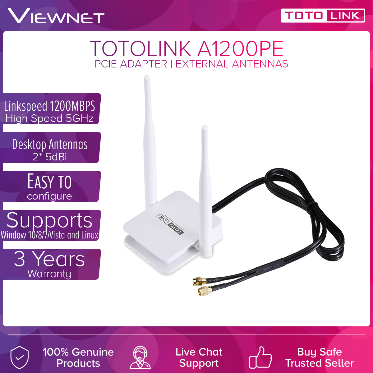 Totolink PCI-E AC1200 Wifi Adapter (A2000PE) *WITH EXTERNAL ANTENNAS*