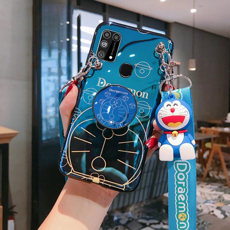 Hình ảnh Ốp Cho Samsung Galaxy A21s, sáng 3D Blu-ray Phim Hoạt Hình Dễ Thương Doraemon Vỏ Điện Thoại Slim Soft TPU Silicone Ốp Lưng Với [Giá Đỡ] [Dây Đeo Chéo Có Thể Điều Chỉnh] [Búp Bê] Quà Tặng Thời Trang Cho Cặp Đôi Phụ Nữ Cô Gái Lady Boy