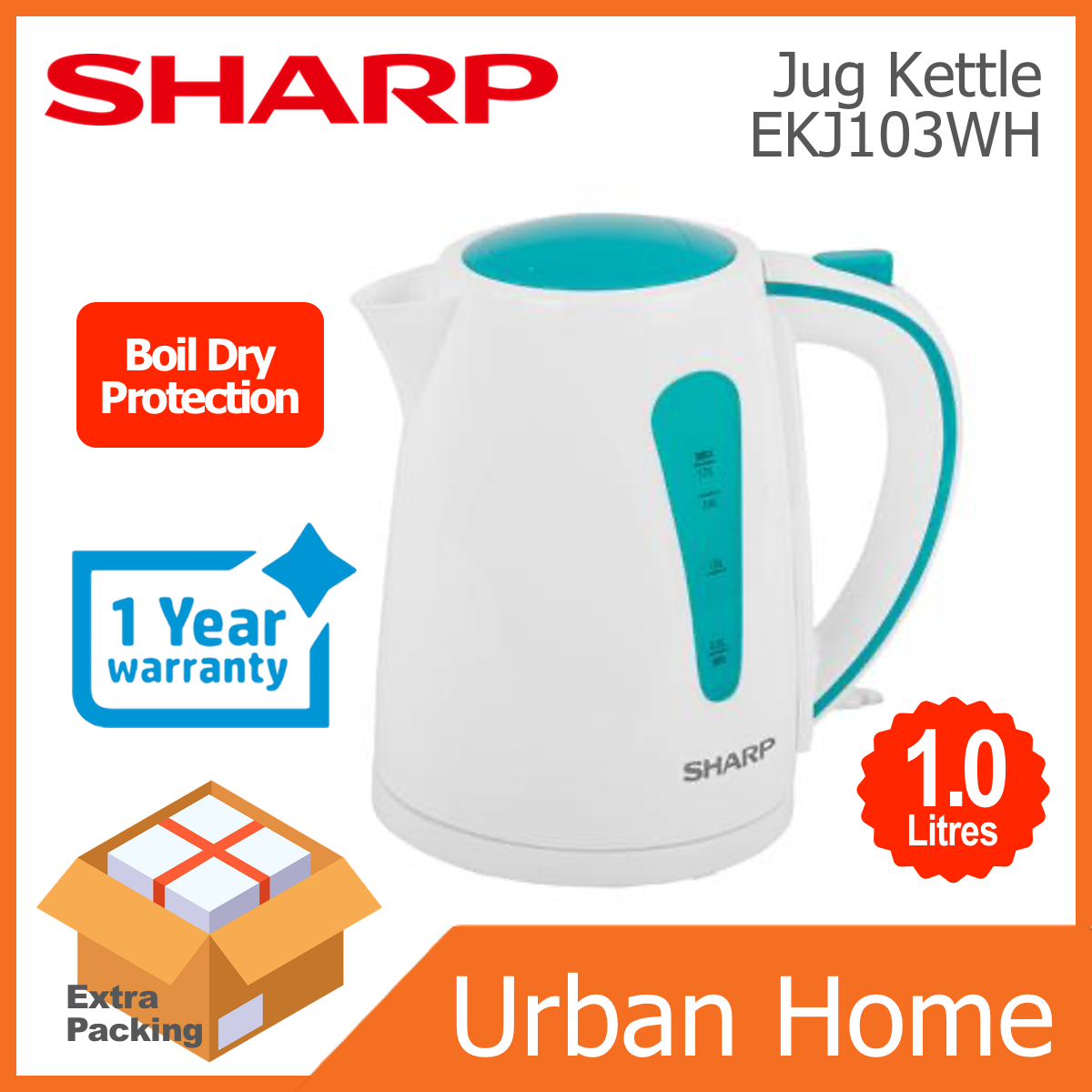 SHARP 1.0L Electric Jug Kettle Cerek with Boil Dry Protection (EKJ103WH)