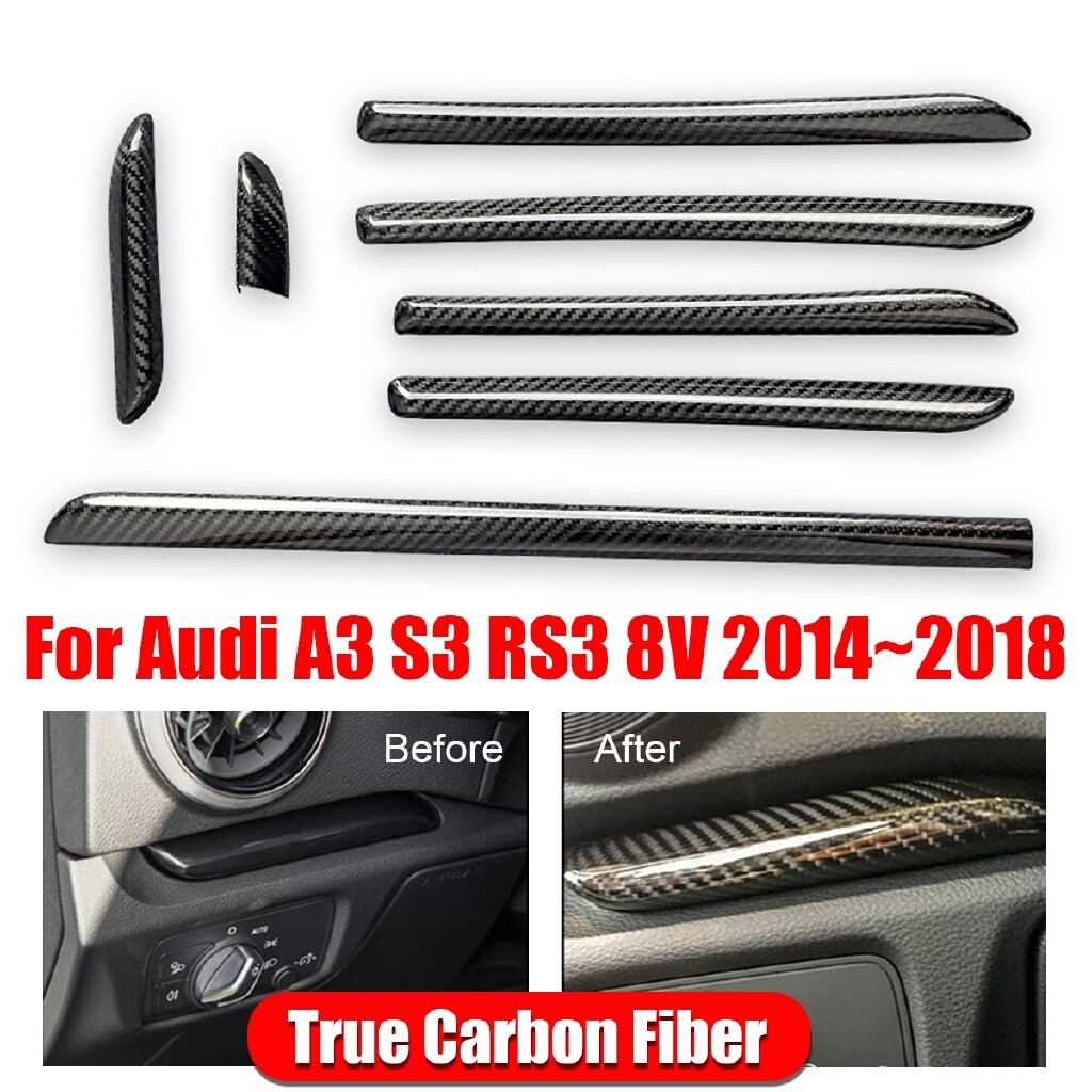 Car Lights - Carbon Fiber Interior Console Door Panel Strips Cover Trim For Audi A3 S3 RS3 8V - Replacement Parts
