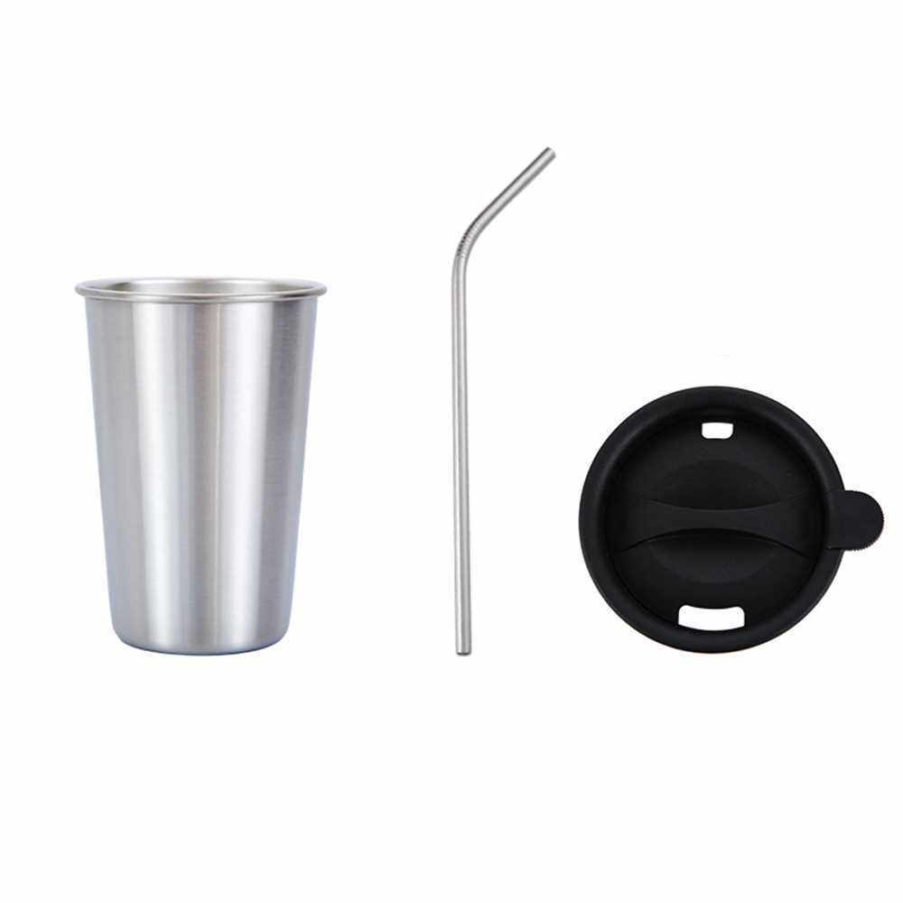 500ml 304 Stainless Steel Cup Coffee Mug Cold Drink Straw Lid Set Outdoor Camping Travel Picnic Juice Milk Tea Beer Cups (Silver)