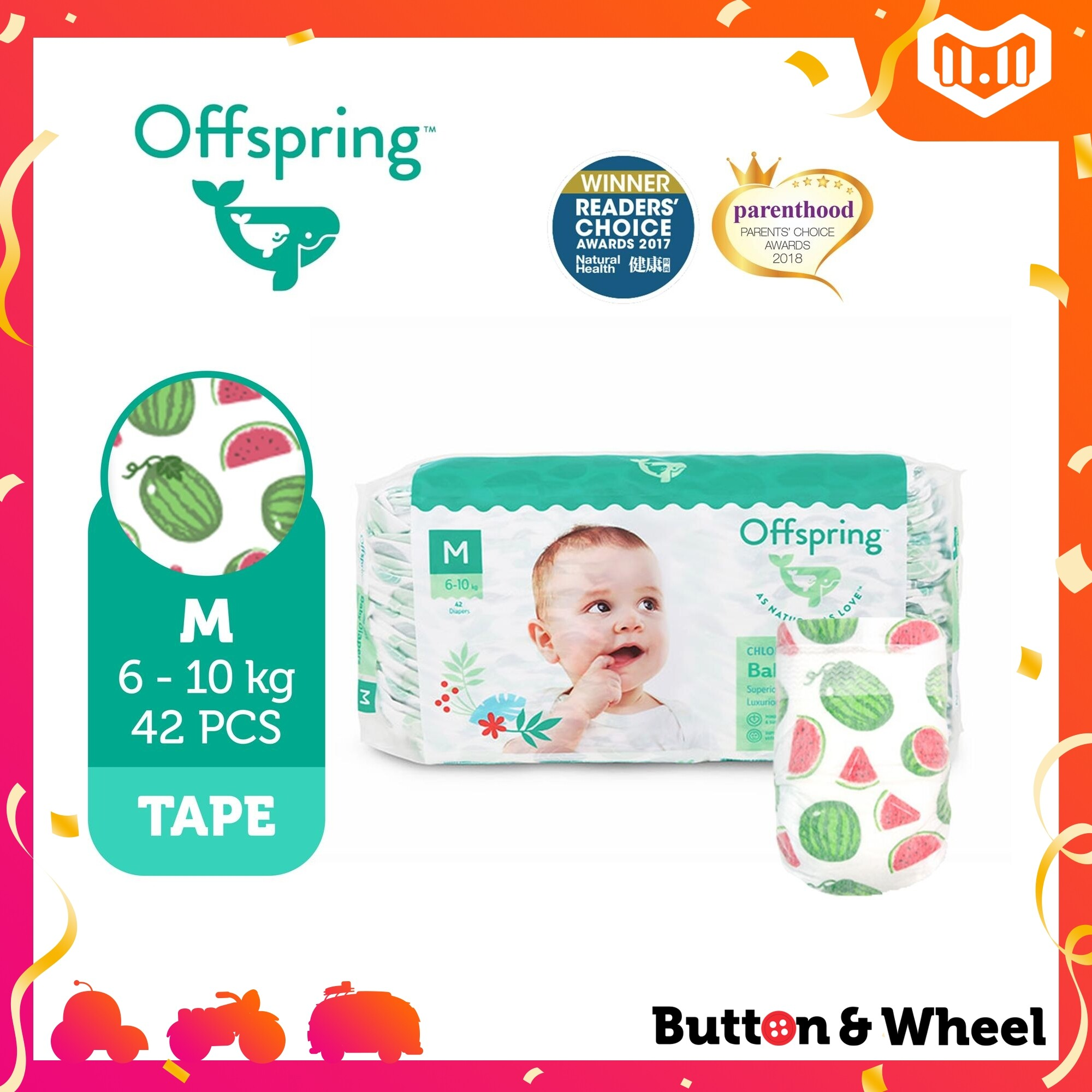 Offspring Fashion Diapers M Size (42 pcs):OI-FT-M-Fantasy