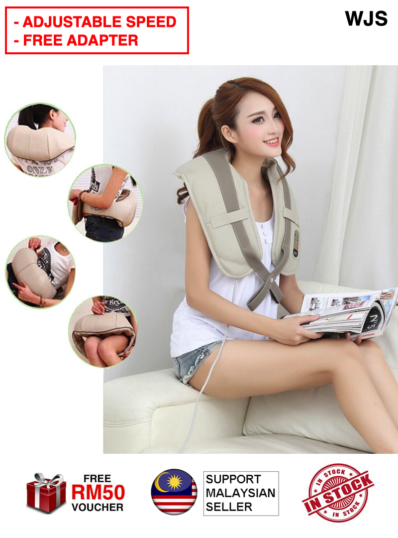 (ADJUSTABLE WITH FREE ADAPTER) WJS Multifunction Heating Body Health Care Equipment Car Home Acupuncture Kneading Neck Cervical Shoulder Cellulite Massager Massage Urut Badan Mesin Urut BEIGE [FREE RM 50 VOUCHER]