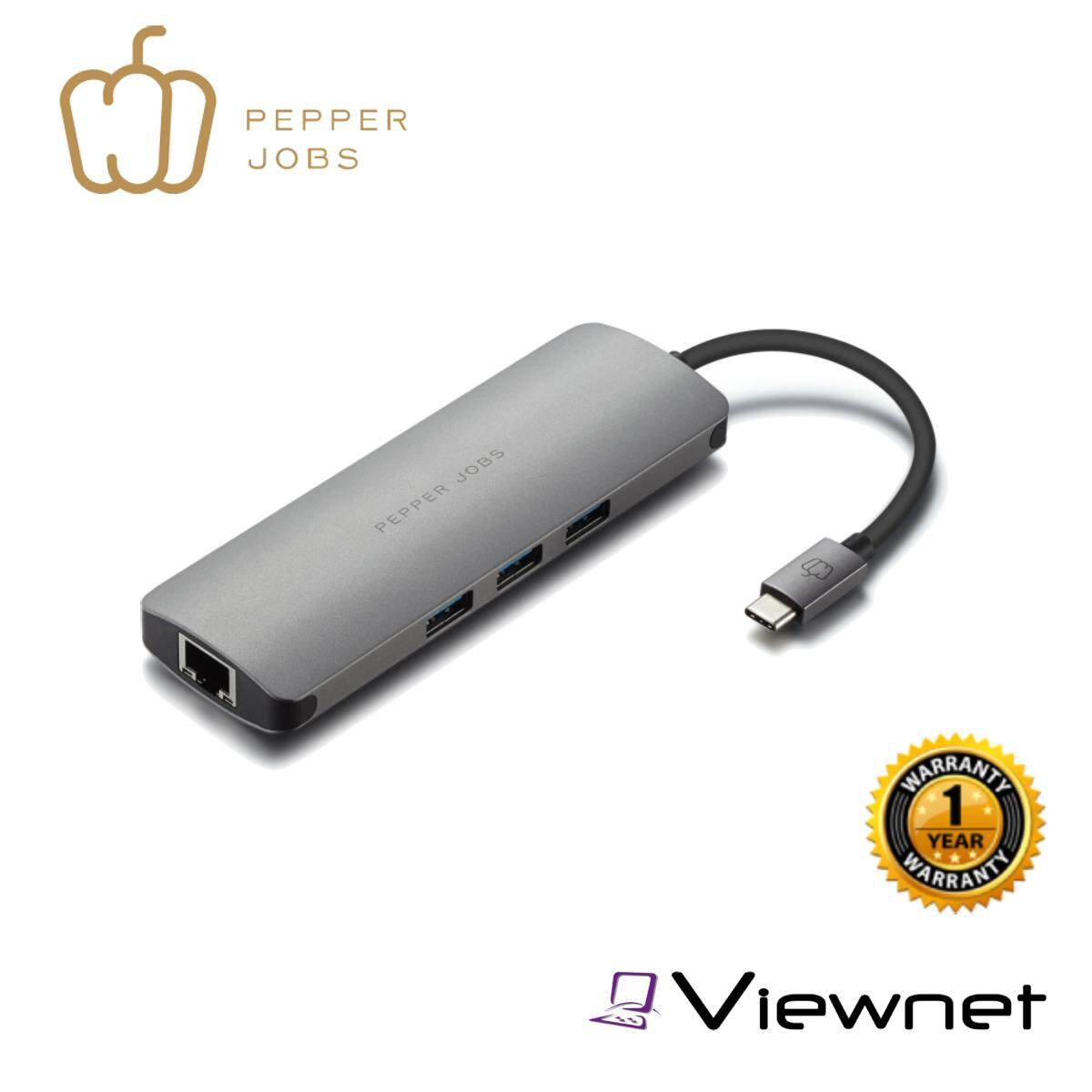 Pepper Jobs TCH-6 Ultra USB-C Digital AV Multiport & Network Hub Adapter