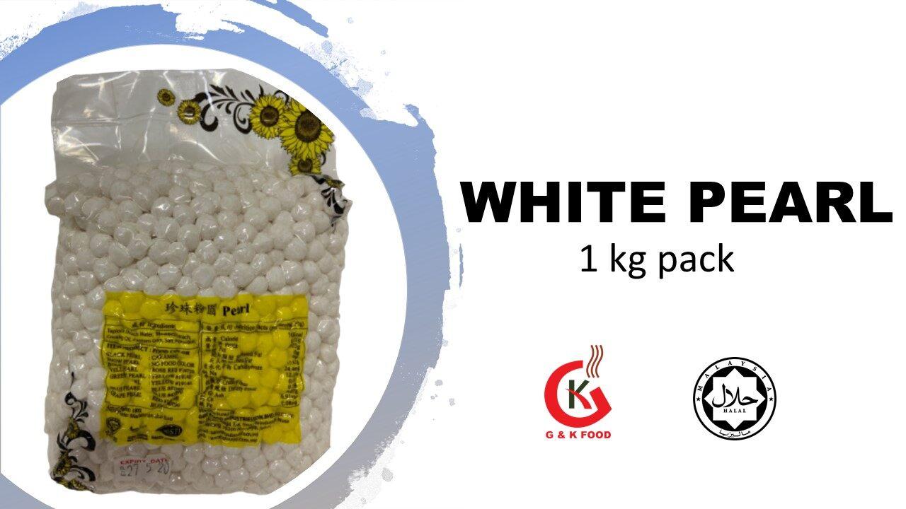 [100% JAKIM HALAL] 1KG WHITE BOBA PEARL/ WHITE PEARL MILK TEA/ Stock Cukup!/ 100% Buatan Malaysia~
