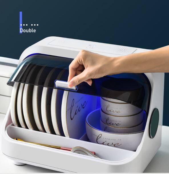Ready Stock Smart Dish Cabinet mini UV kitchen Tableware Dish Rack with UV Light And Dryer Sterilizer With Cover