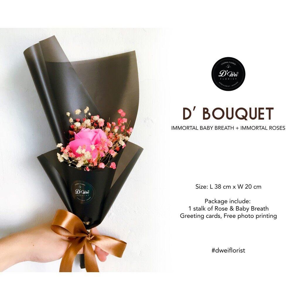 1 Stalk Soap rose with Baby Breath Bouquet / Flower / Graduation