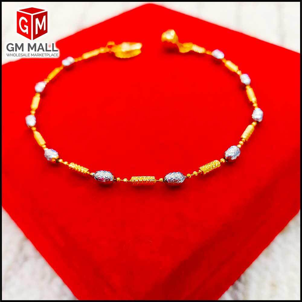 Emas Korea Jewellery - Gelang Tangan Bebola Mix Bujur Gold Plated (EK-2079-8)