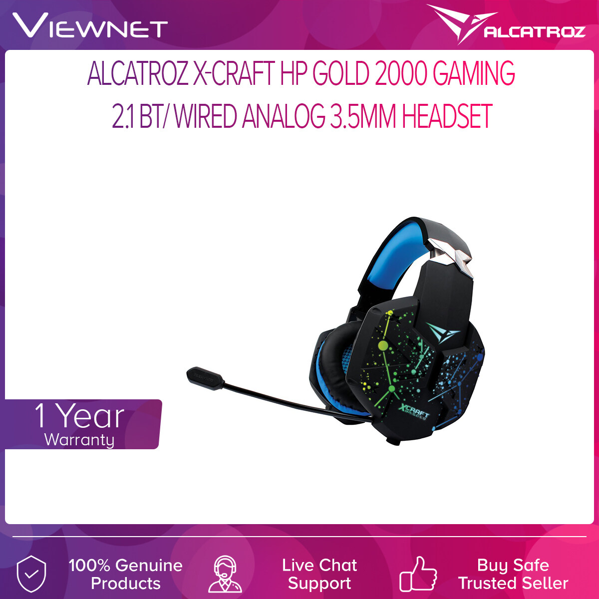 Alcatroz X-Craft HP Gold 2000 Gaming 2.1 BT/ Wired Analog 3.5MM Headset