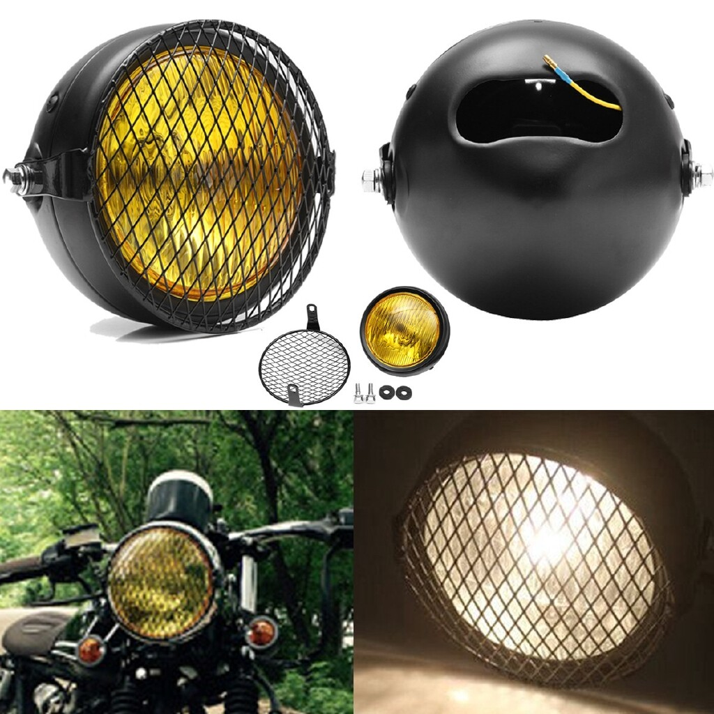 Car Lights - Retro Amber Vintage Motorcycle Side Mount Headlight For Cafe Racer W/Grill Cover - Replacement Parts