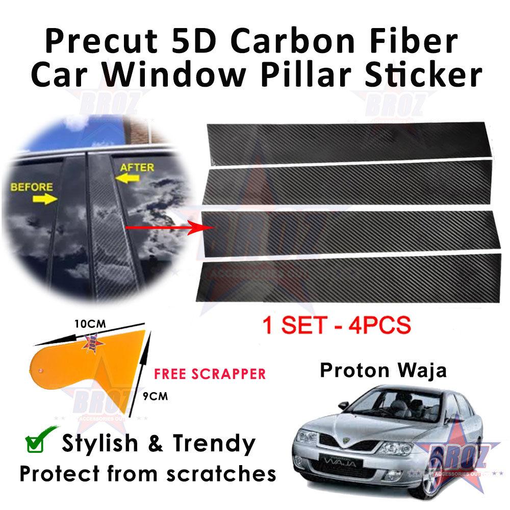 For Proton Waja PreCut 5D carbon fiber car window middle pillar stickers (one set 4 pcs) FREE installation tool SCRAPPER 1pcs
