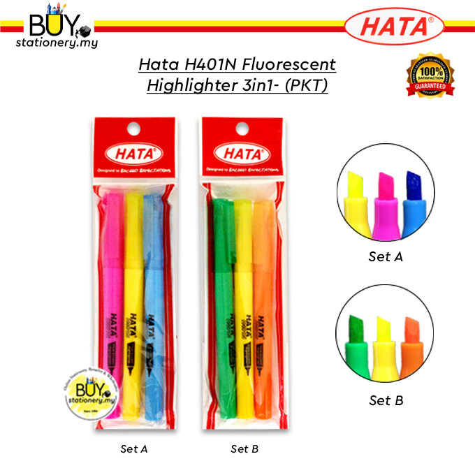 Hata H401N Fluorescent Highlighter 3in1 - (PKT)