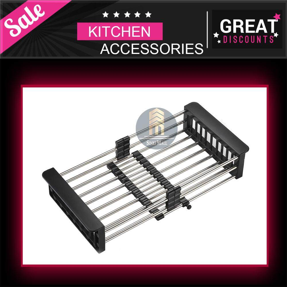 Dish Drying Rack Over Sink, Stainless Steel Dish Drainer with Adjustable Arms Holder Functional Kitchen Sink Organizer for Vegetable and Fruit