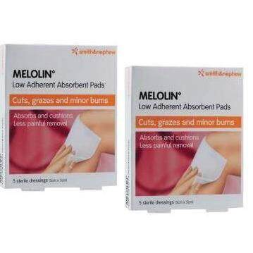 Smith & Nephew Melolin Low Adherent Absorbent Pads 10cm x 10cm 5sx2