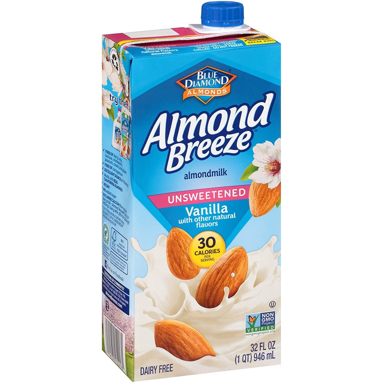 MILK Blue Diamond Almond Breeze Almond Milk Vanilla Unsweetened (946ml) EURO SNACKS