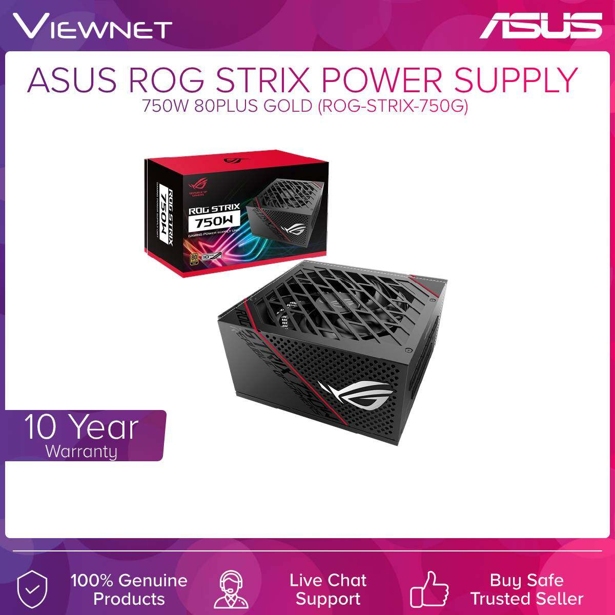Asus Rog Strix (ROG-STRIX-750G) Power Supply 750W 80Plus Gold For Desktop , ROG Heatsinks , Frozen Silence