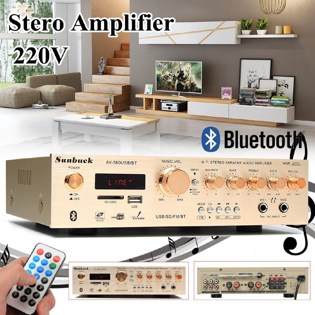 Amplifiers & Receivers - 220V 400W BLUETOOTH Hi-Fi Amplifier AUX Class-AB Stereo CSR Super Bass Power - Home Entertainment