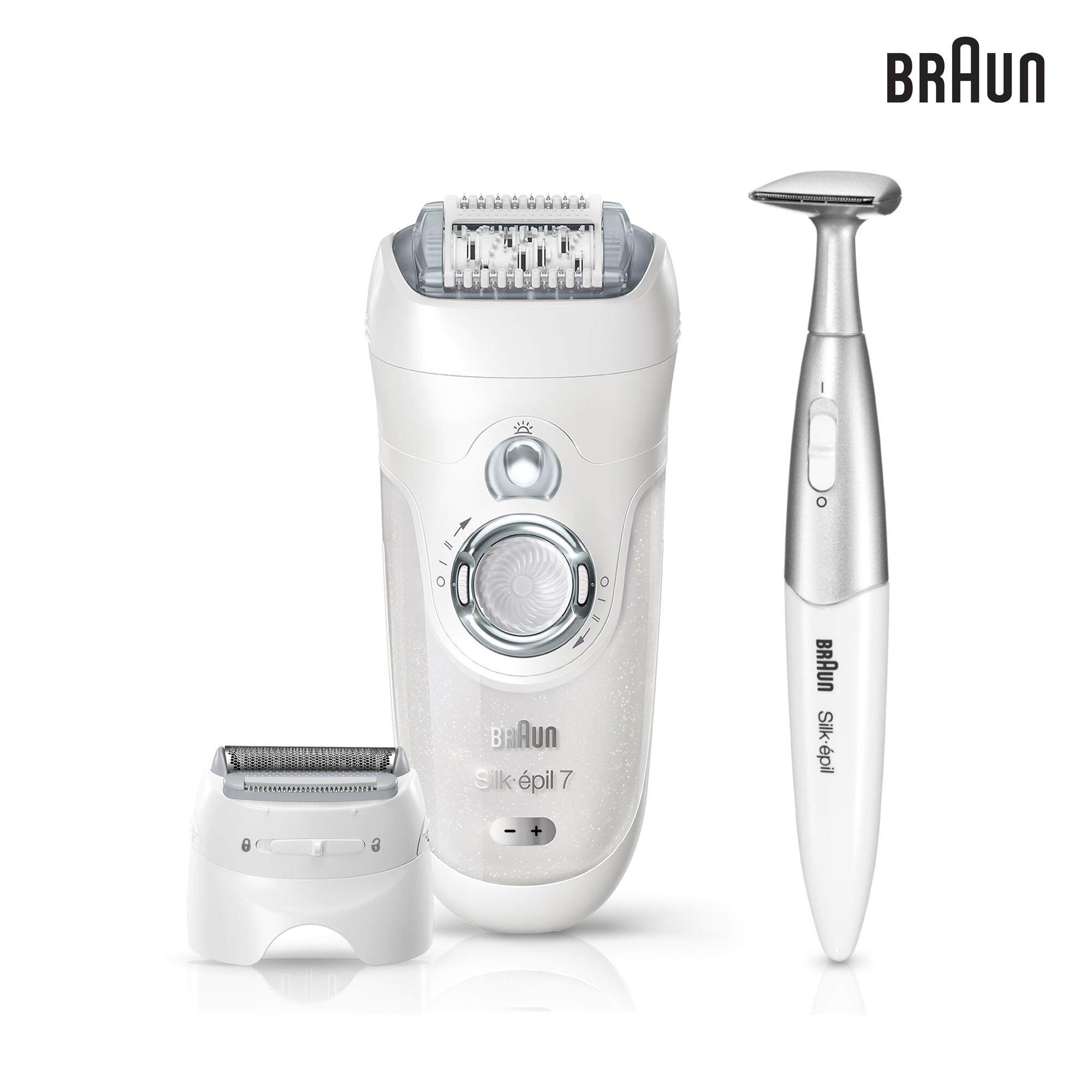 Braun Silk-épil 7 7-561 - Wet & Dry Cordless Epilator with 6 Extras including a shaver head and trimmer cap