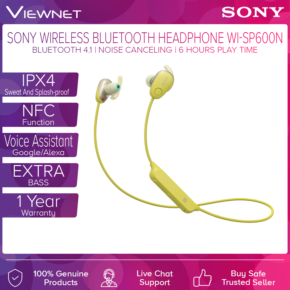 Sony WI-SP600N EXTRA BASS IPX4 Waterproof Wireless Bluetooth Noise Cancelling Sports In-ear Headphones (Black/White/Yellow/Pink) NFC, Hands-free Calling, Voice Assistant Compatible, Ambient Sound Mode (Normal/Voice), Up to 6 Hours Battery Life