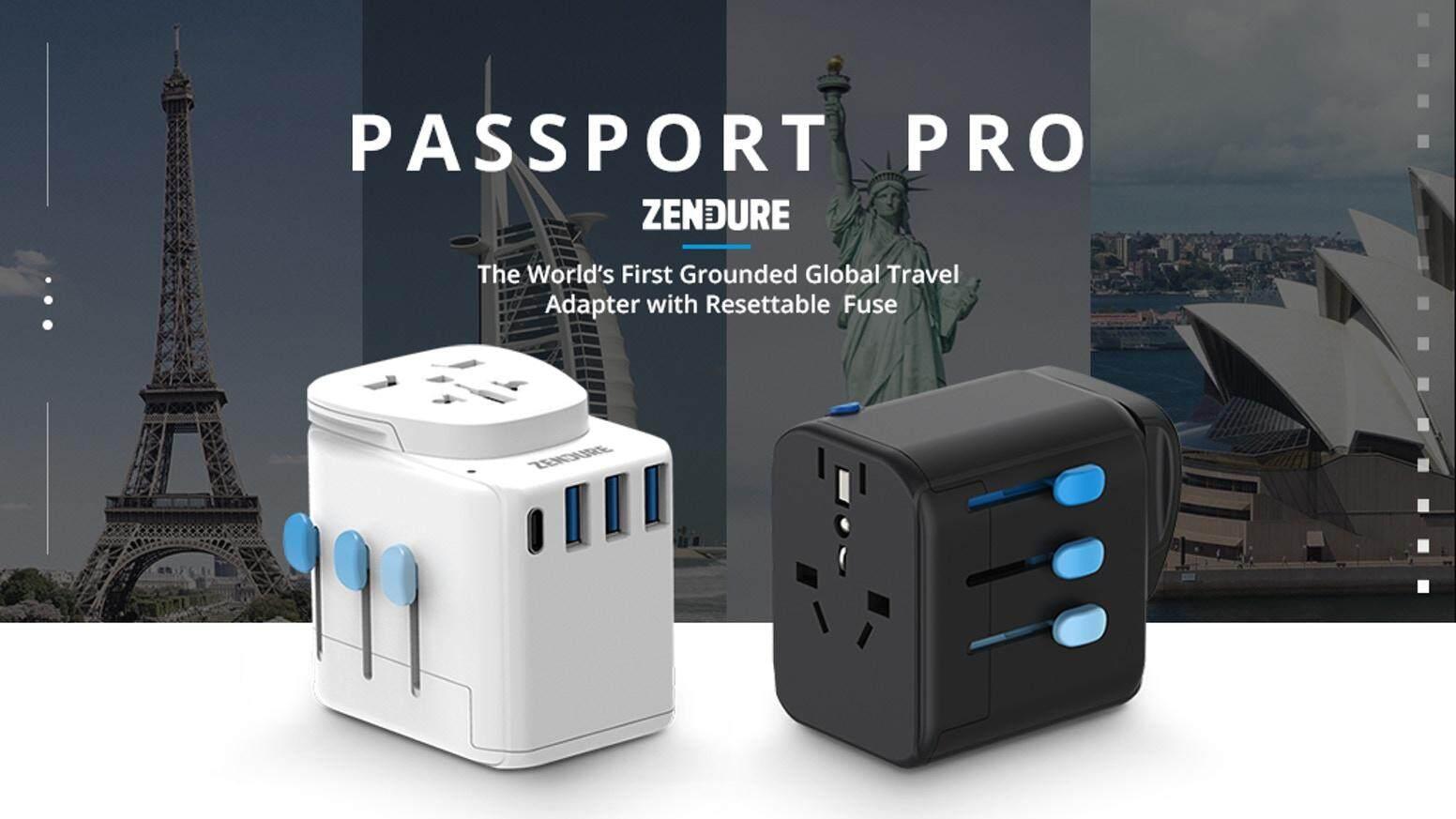 Zendure Passport Pro Global Travel Adapter USB-C PD 18W 3X USB Ports